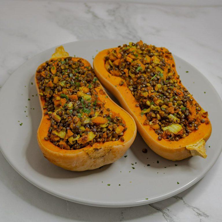 Recette butternut farcies aux lentilles et petits légumes