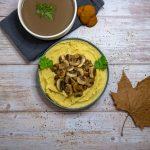 recette simple purée vegan et sauce graves vin rouge/champignons