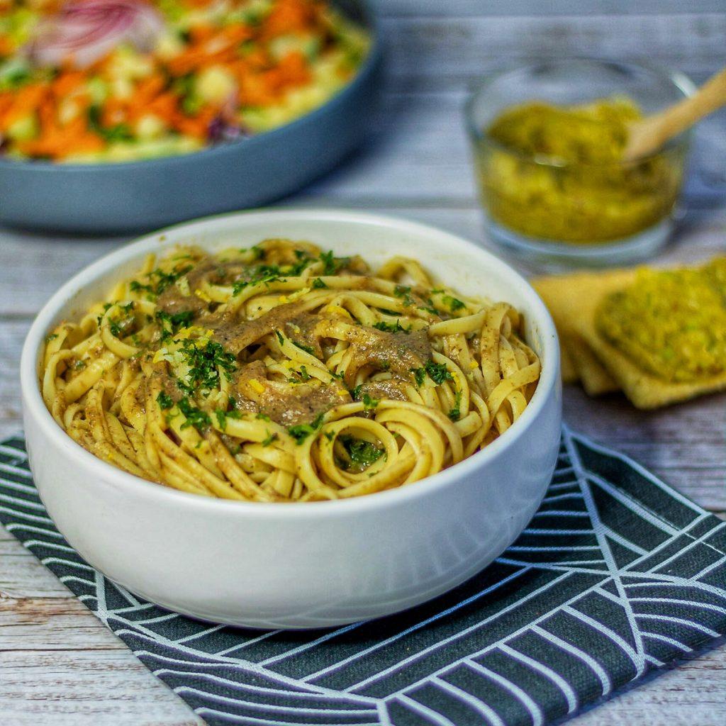 recette sauce aux champignons express linguine vegan
